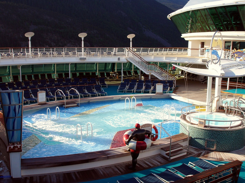 Pool Deck in the Early Morning on the Serenade of the Seas while in the Lynn Canal