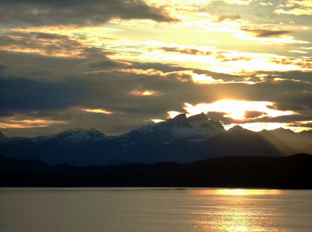 Sun Rising over the Mountains in Lynn Canal