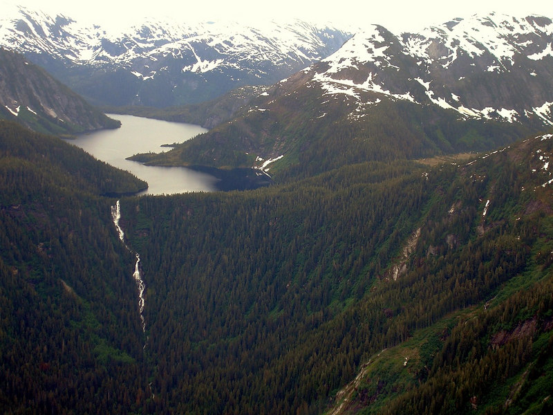Glacier Lake and Waterfall in Misty Fjords