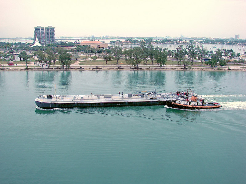 Tugboat and Barge in the Miami Channel