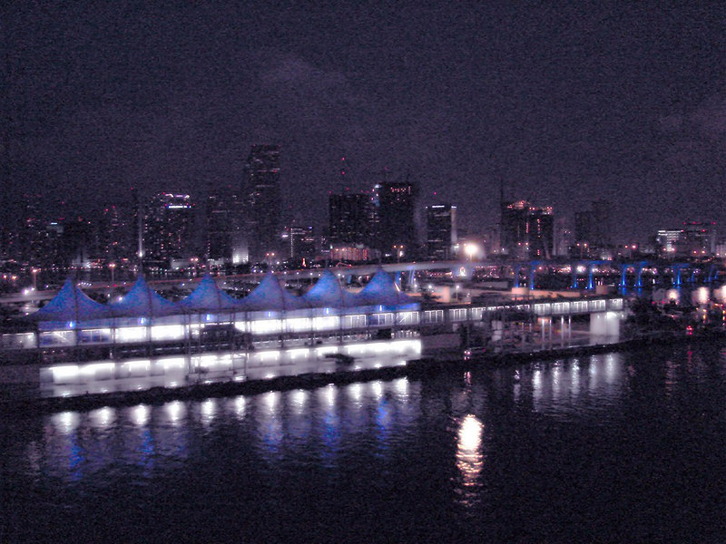 RCI Cruise Ship terminal and Miami Skyline at night. Processed to resemble a watercolor.