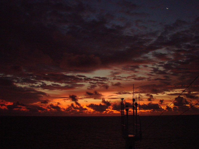 Dawn Twilight and Crescent Moon from the Peek-A-Boo Bridge in the Grand Bahamas Bank