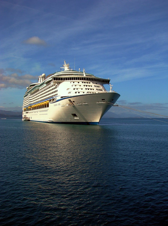 <i>Voyager of the Seas</i> at anchor in Labadee, Haiti taken from the tender heading back to the ship.