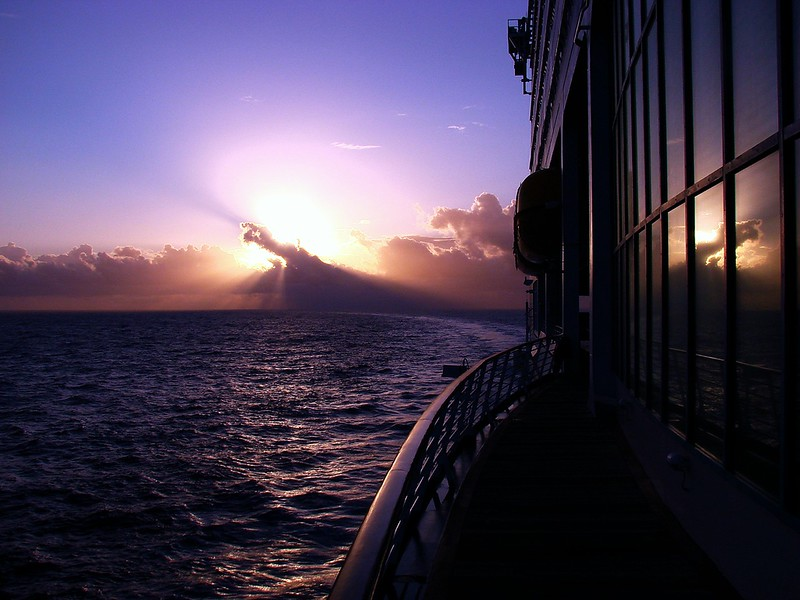 Sunrise at sea approaching Georgetown, Grand Cayman on the <i>Voyager of the Seas</i>