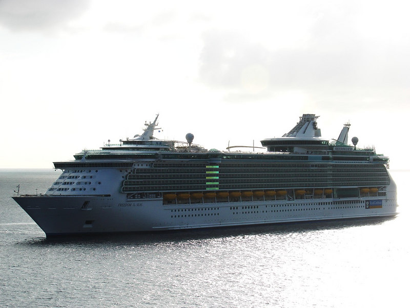 <i>Freedom of the Seas</i>, the largest cruise ship in the world, anchored in Georgetown, Grand Cayman.