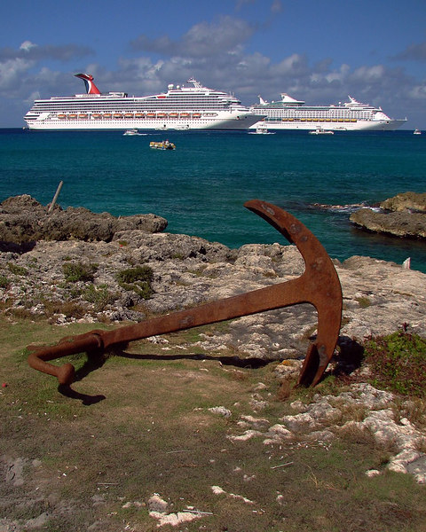 Day 5 - <i>Carnival Liberty</i> and <i>Voyager of the Seas</i> anchored off Georgetown, Grand Cayman.