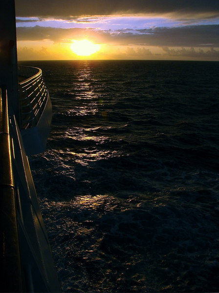 Sunrise at Sea, approaching Cozumel on the <i>Voyager of the Seas</i>
