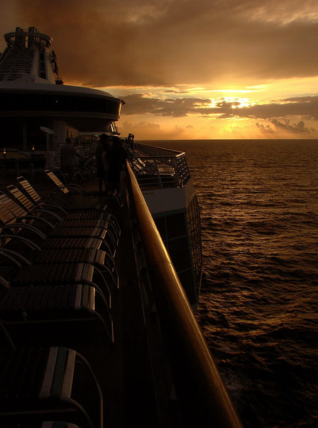 Sunrise from the <i>Voyager of the Seas</i> heading for Cozumel