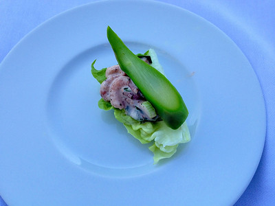 Amusee bouche was a bit of lettuce with what tasted like shrimp louis with a giant bit of asparagus.