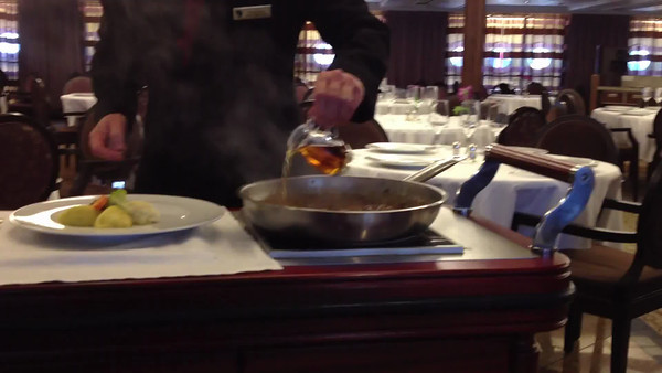 Steak Diane being made for me in the Restaurant.