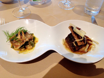 L to R: Crisp sea bass, bean meli-melo, citrus fondue - barbecue glazed shortrib & seared foie gras, orange potato soubise