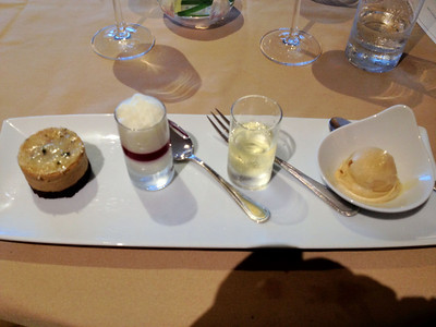 L to R: Sweet coffee sandwich - white chocolate foam - random interloping sauternes - sea salt caramel ice cream