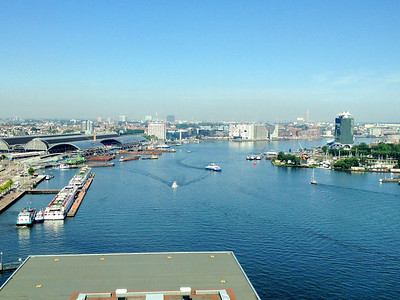 The view from my suit in the Movenpick.  The arched buildings to the left are Centraal Station.  The Pride would dock just off to the right for pickup and in industrial nothing for delivery.