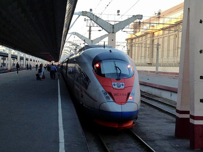 "Russian knock off ""bullet train"" max speed: 200 KM/h (TGV averages 320, the Shinkansen 275).  I'm assuming the French and Japanese versions also have A/C and seats that recline."