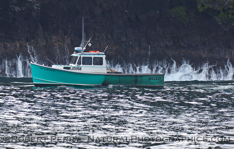 Lobster boat working in shallow water.