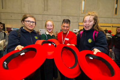 "09/11/2017. Crystal Valley Tech Showcase at WIT Arena. Pictured is Luigi Zucarelli of Red Hat with Grainne Flannery, Aisling Murphy and Hannah Dunphy from St Mary's Secondary School, New Ross Co. Wexford. Picture: Patrick Browne   Event demonstrates Tech and ICT is thriving in Wexford and the South East 50 companies and 2,000 students, industry and recruiters attend the inaugural Crystal Valley Tech Showcase event  Over 50 companies who are working together as Crystal Valley Tech showcased their rapidly growing industry in the WIT Arena on Thursday morning to approx. 2,000 members of the public, college and second level students, recruiters, government agencies and other industry.  The future is bright for ICT in the South East according to Dr Padraig Kirwan, Head of the Department of Computing & Mathematics at Waterford Institute of Technology. ""Computing is thriving in the South East judging by the number and diversity of ICT companies here today. Even more encouraging is the number of second level students who attended from Waterford, Kilkenny, Carlow, Tipperary and Wexford and how interested they are about the career opportunities in this exciting industry.""  Wexford schools attending the event included St. Mary's CBS in Enniscorthy, St Mary's Secondary School in New Ross and Colaiste an Atha in Kilmuckridge.  Elaine Fennelly, Bluefin Payment Systems General Manager and co-founder of Crystal Valley Tech is very excited about the industry in the South East and today's showcase event. ""People who work in the industry already know that Tech is well established in the South East and the number of opportunities and companies continues to grow and grow. According to a recent Tech Ireland report there are over 60 indigenous and multinational companies employing well over 1,500 people from their bases in Waterford, Wexford, Kilkenny and Carlow.  ""However, we weren't so sure that people in the region realised just how big the ICT industry is becoming and"