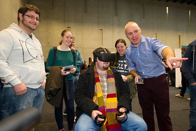 "09/11/2017. Crystal Valley Tech Showcase at WIT Arena. Pictured is John Ryan from Wexford with David Whelan CEO Immersive VR Education with a VR Head Set. Picture: Patrick Browne  Event demonstrates Tech and ICT is thriving in Wexford and the South East 50 companies and 2,000 students, industry and recruiters attend the inaugural Crystal Valley Tech Showcase event  Over 50 companies who are working together as Crystal Valley Tech showcased their rapidly growing industry in the WIT Arena on Thursday morning to approx. 2,000 members of the public, college and second level students, recruiters, government agencies and other industry.  The future is bright for ICT in the South East according to Dr Padraig Kirwan, Head of the Department of Computing & Mathematics at Waterford Institute of Technology. ""Computing is thriving in the South East judging by the number and diversity of ICT companies here today. Even more encouraging is the number of second level students who attended from Waterford, Kilkenny, Carlow, Tipperary and Wexford and how interested they are about the career opportunities in this exciting industry.""  Wexford schools attending the event included St. Mary's CBS in Enniscorthy, St Mary's Secondary School in New Ross and Colaiste an Atha in Kilmuckridge.  Elaine Fennelly, Bluefin Payment Systems General Manager and co-founder of Crystal Valley Tech is very excited about the industry in the South East and today's showcase event. ""People who work in the industry already know that Tech is well established in the South East and the number of opportunities and companies continues to grow and grow. According to a recent Tech Ireland report there are over 60 indigenous and multinational companies employing well over 1,500 people from their bases in Waterford, Wexford, Kilkenny and Carlow.  ""However, we weren't so sure that people in the region realised just how big the ICT industry is becoming and to ensure the industry's future growth in the South"