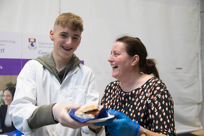 09/11/2017. Crystal Valley Tech Showcase at WIT Arena. Pictured are Paudie Brennan of Brennan's Square Sausages a Transition Year company from Ardscoil na Mara, Tramore with Carmel Murphy head chef WIT. Picture: Patrick Browne