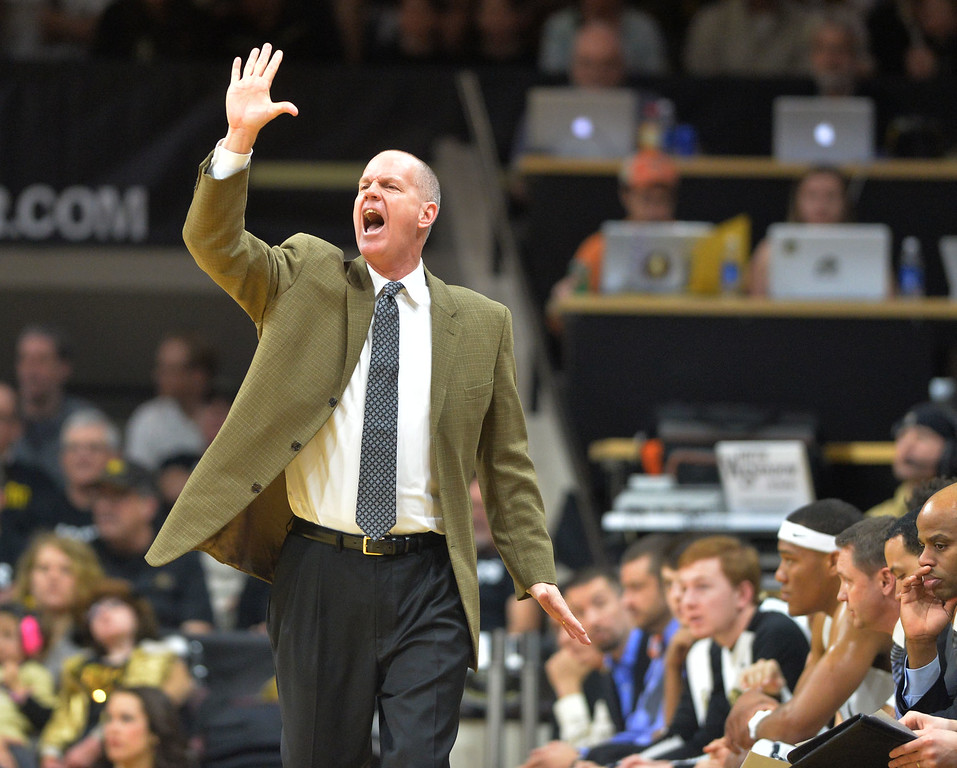 "Colorado's head coach Tad Boyle signals to his team  during Sunday's Men's Basketball game against Arizona State at the University of Colorado's Coors Event Center.<br /> <br /> More photos:  <a href=""http://www.dailycamera.com"">http://www.dailycamera.com</a><br /> David R. Jennings/Staff Photographer<br /> February 28, 2016"