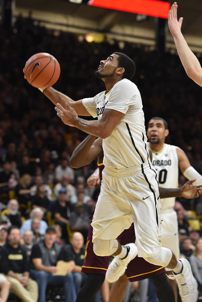 "ColoradColorado's Xavier Talton goes to the basket against Arizona State during Sunday's Men's Basketball game at the University of Colorado's Coors Event Center.<br /> <br /> More photos:  <a href=""http://www.dailycamera.com"">http://www.dailycamera.com</a><br /> David R. Jennings/Staff Photographer<br /> February 28, 2016"