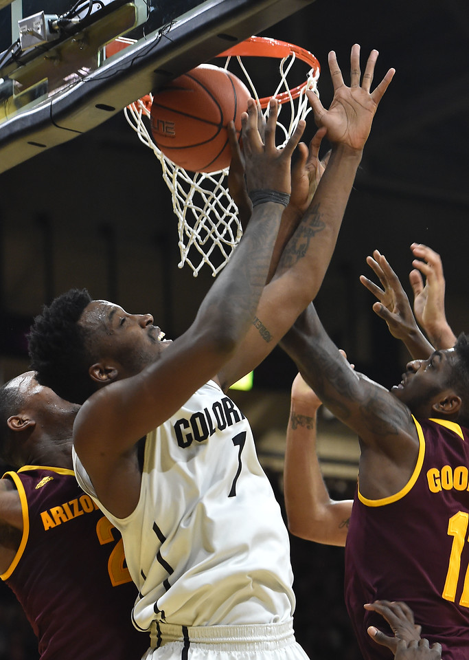 "Colorado's Wesley Gordon fights for the ball against Arizona States during Sunday's Men's Basketball game at the University of Colorado's Coors Event Center.<br /> <br /> More photos:  <a href=""http://www.dailycamera.com"">http://www.dailycamera.com</a><br /> David R. Jennings/Staff Photographer<br /> February 28, 2016"