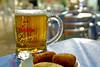 Jarra de cerveza con tapa de croquetas en la terraza de la cafetería Estoril cerca de la estación de FF.CC. Atocha, nada mejor en una noche calurosa.<br /> <br /> Cafetería Estoril - Glorieta Emperador Carlos V - Madrid - España