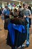Ambos bien cargados, cada uno con un trole de + 23 kg y cada uno con equipaje a mano de unos 10 kg + el resto que queda todavía en el hotel para engañar a las azafatas de tierra.<br /> El equipaje propio entraría en un solo trole y un solo equipaje a mano pero viajamos con muchos regalos para los amigos en Cusco. <br /> <br /> Aeropuerto de Bruselas