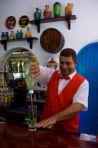Mixing the Cuban Mojito -- great refreshing drink made of crushed mint, sugar (lots of sugar), lime juice, club soda & rum.  Add ice and sip!