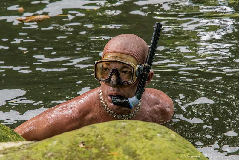 He was diving in murky waters - don't know for what
