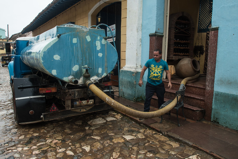 """Running water"" delivery in Trinidad, Cuba"