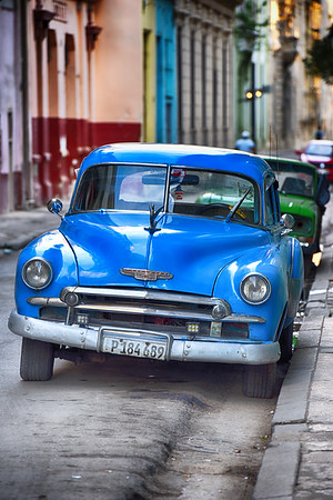 Blue Car with colorful background