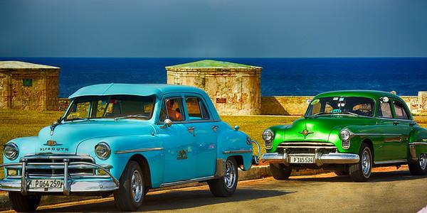 Blue and Green Car at Fortress