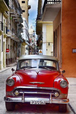 Red Car with Capitolio Behind