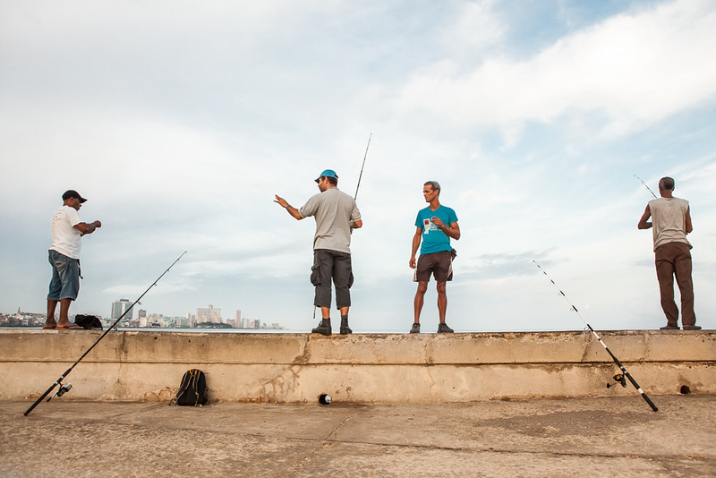 Fishermen on the malecon, Havana.