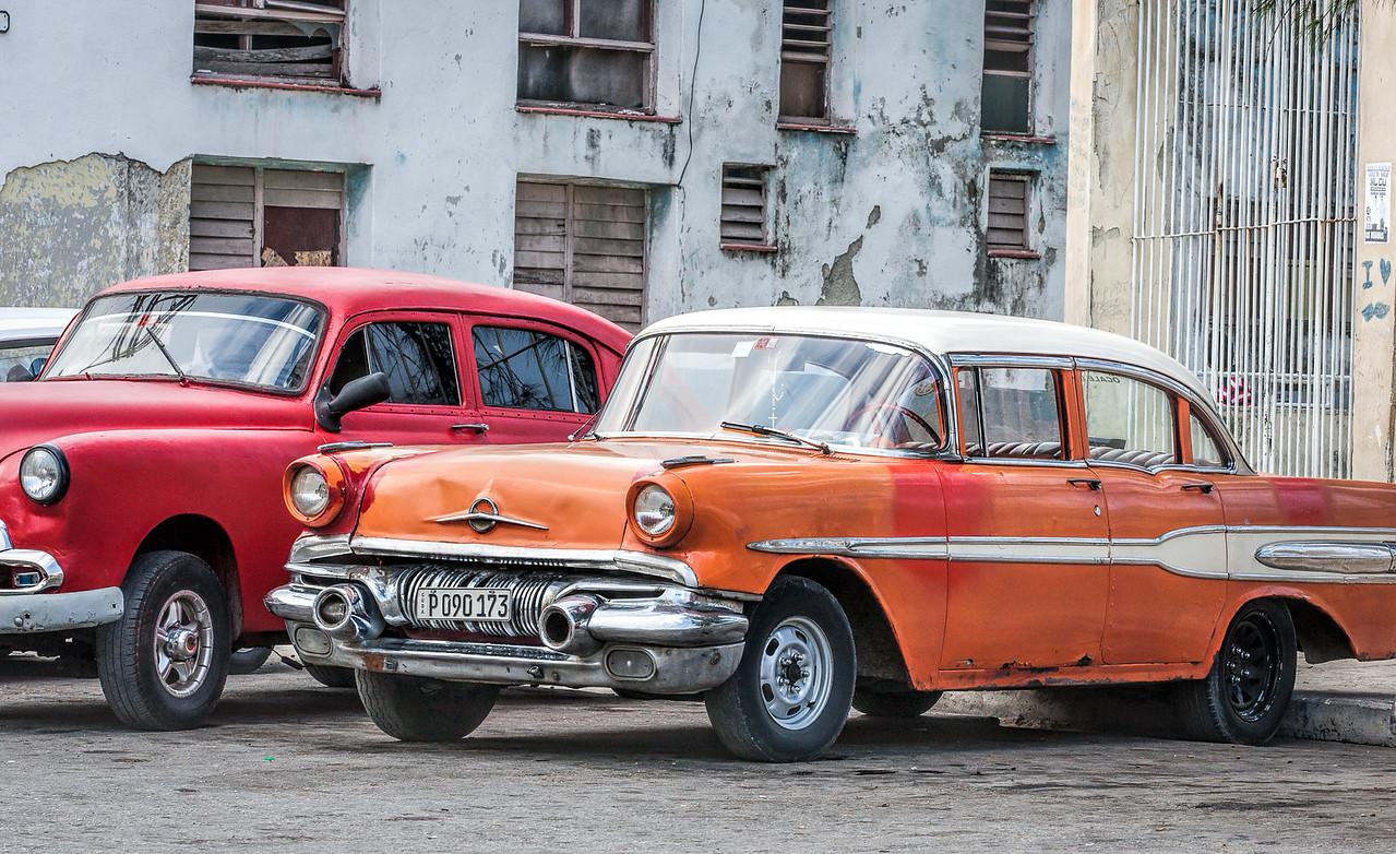 Old American Cars Parked in Havana in Cuba
