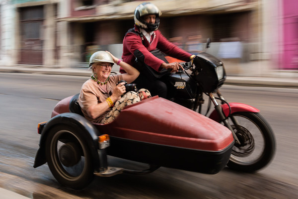 Portrait of a Jane Bedford in a Motorcycle Side Car