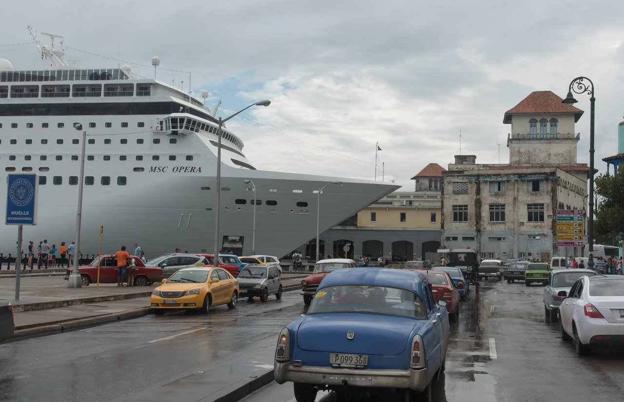 Cruise ship at the pier in Havana Harbor