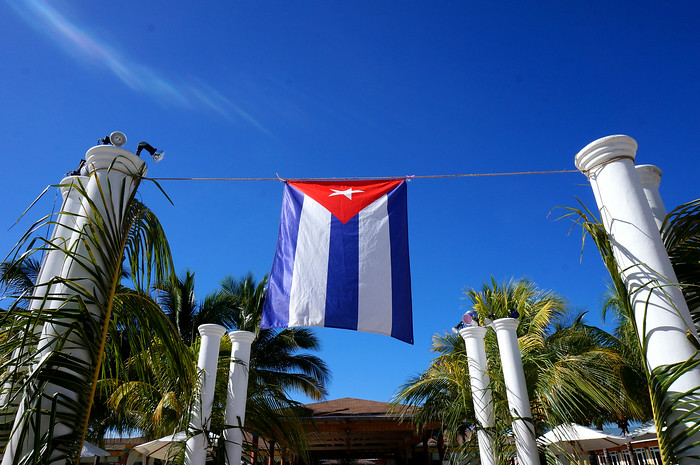 Cuban flag blowing in the wind.