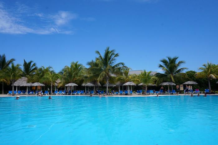 Enjoying the pool at Melia Las Dunas.
