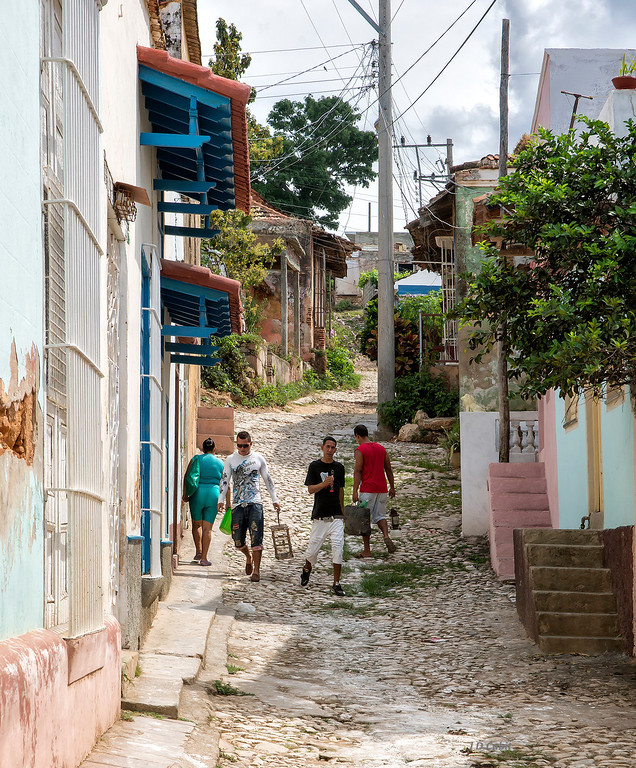 A steep side-street in Trinidad de Cuba.  This is one of the original Spanish settlements in Cuba.  Although it is a UNESCO World Heritage Site, many of the old houses are still privately owned residences. We visited one that the owners operate as a B & B.