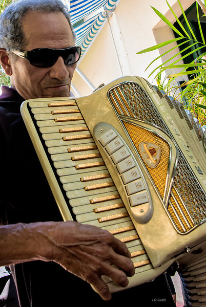 Accordion player at the studio of Marta Jimenez Perez.