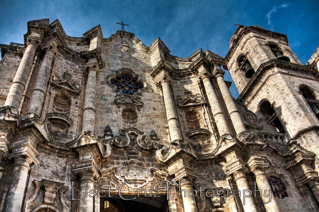 Facade of Havana Cathedral.  Havana, Cuba.