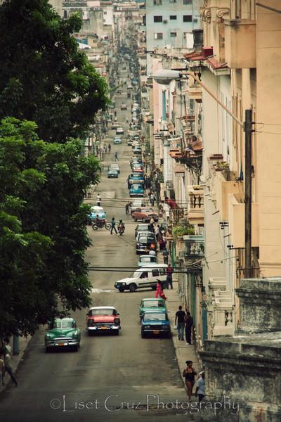 Street that goes from the University to Central Havana.  Havana, Cuba.