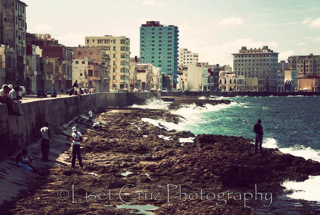 People in the Malecon.  Havana, Cuba.