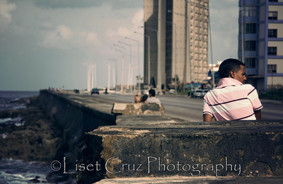 A young man in the Malecon.  Havana, Cuba.
