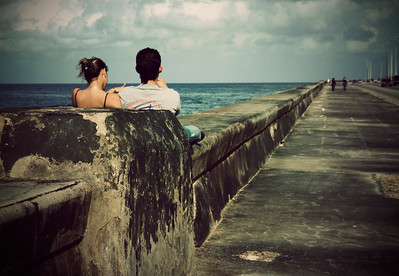 Young couple in the Malecon.  Havana, Cuba.