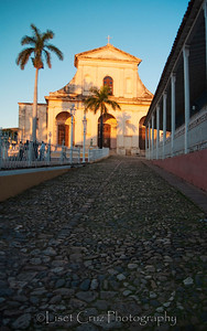 Old street and church in Trinidad, Cuba.