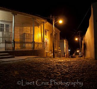Street at night in Trinidad, Cuba.