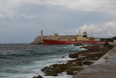 Ship leaving Havana Harbour