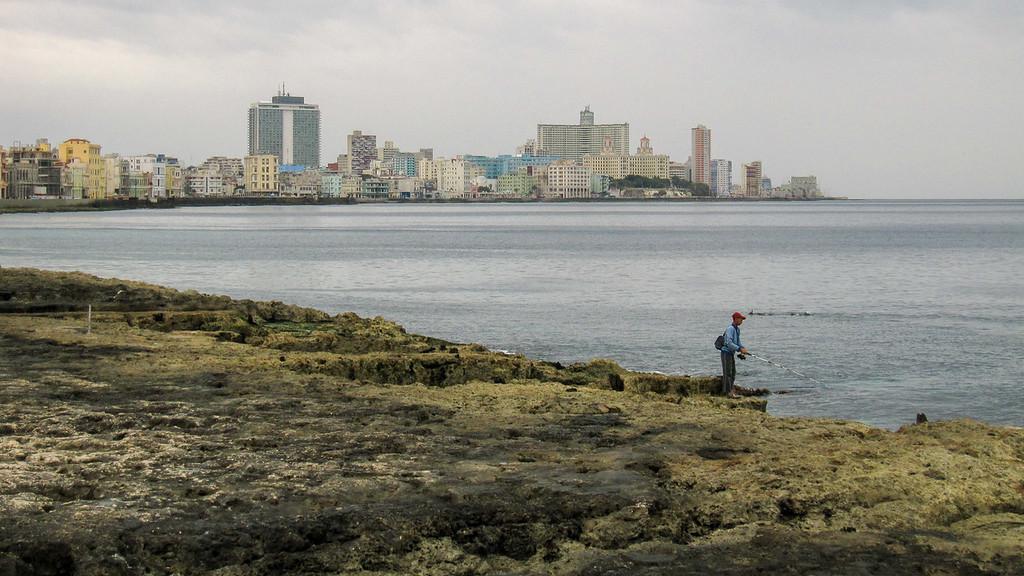 fisherman at Cuba's Malecon.